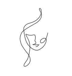 Woman continuous line art vector