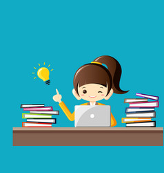 hard working businesswoman gets an idea vector image vector image