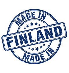 made in finland blue grunge round stamp vector image vector image