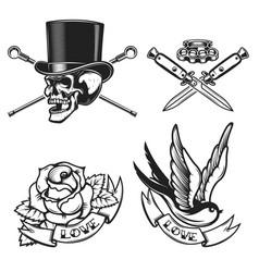 Old school tattoo emblems swallow bird skull in vector