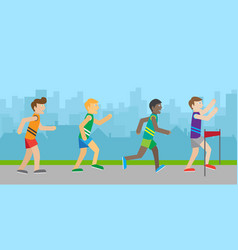 runners on finish flat style vector image