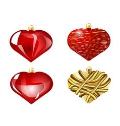 set of christmas heart vector image vector image