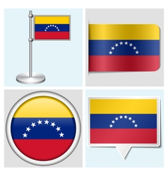 Venezuela flag - sticker button label flagstaff vector image vector image