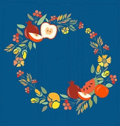 autumn floral wreath with fruits vector image