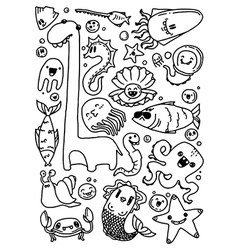 black-and-white doodles hand-drawn contour on a wh vector image