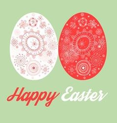 Greeting card with painted Easter eggs on green vector image vector image