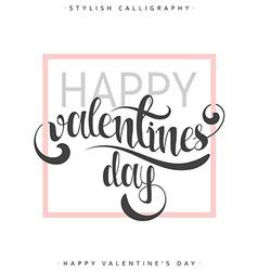 Happy valentines day Pink phrase handmade Stylish vector image vector image