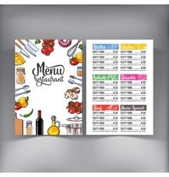 Kitchenware vegetables and cutlery menu design vector image