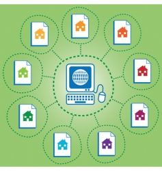 networked houses vector image vector image