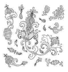 paisley ethnic ornament vintage set vector image vector image