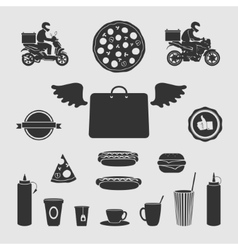 Set Symbols Food Delivery vector image vector image
