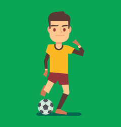 soccer player kicking ball on green field vector image vector image