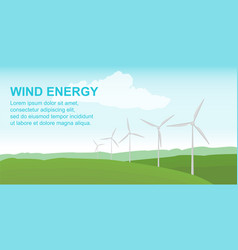 wind power station on the green field alternative vector image vector image