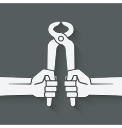 worker hands with pincers vector image vector image