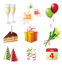 9 highly detailed celebration icons vector