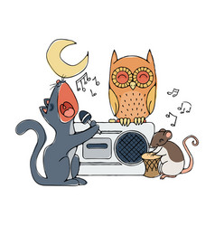 animal musical band cat rat and owl vector image