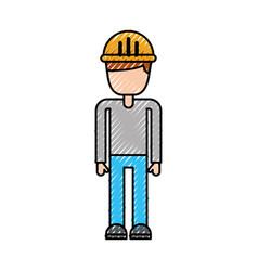 construction worker man with helmet character vector image vector image