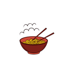 flat noodles in bowl with chopsticks icon vector image