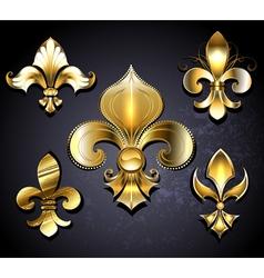Set of Golden Fleur de Lis vector image vector image