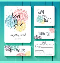wedding invitation card set thank you save the vector image