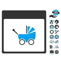 Baby Carriage Calendar Page Icon With Bonus vector image vector image