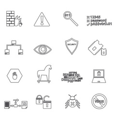 Computer security simple black outline icons eps10 vector