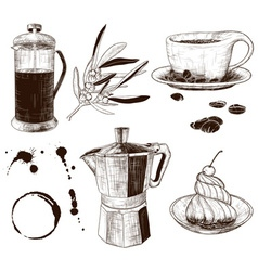 Hand Drawn Set of Cafe Items vector image
