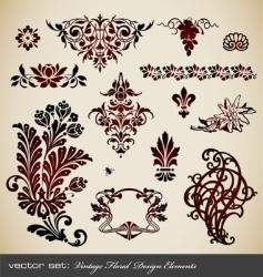 set vintage floral elements vector image vector image