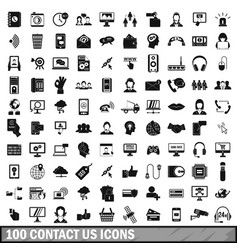100 contact us icons set simple style vector