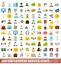 100 employment service icons set flat style vector