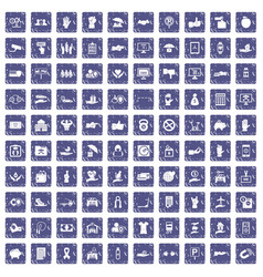 100 hand icons set grunge sapphire vector image