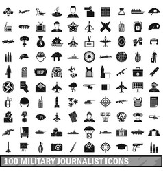 100 military journalist icons set simple style vector