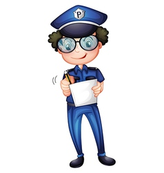 A policeman with a pen and paper vector image