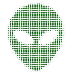 Alien face halftone icon vector