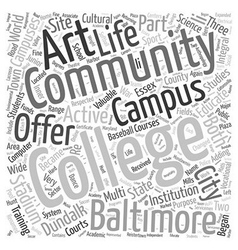 Baltimore community colleges Word Cloud Concept vector