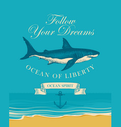 banner with big hand drawn shark and inscriptions vector image