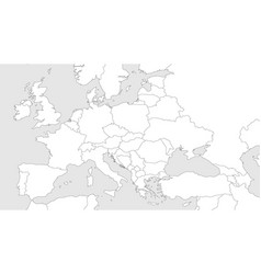 Blank outline map of europe with caucasian region vector