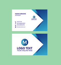 blue awesome business card template vector image