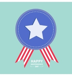 Blue badge with ribbons Award icon Star and strip vector image