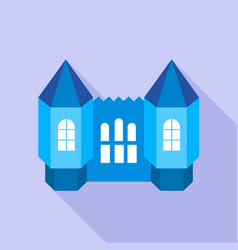 Blue fortress towers icon flat style vector