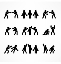 Boxing stick figures on white vector