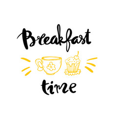 breakfast time calligraphy vector image