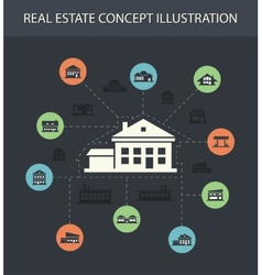 buildings flat design composition with icons vector image