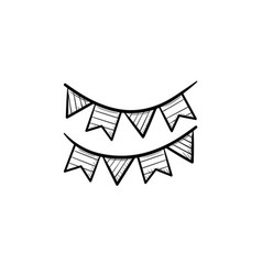 bunting flags head hand drawn outline doodle icon vector image