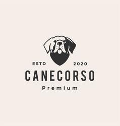 cane corso dog hipster vintage logo icon vector image