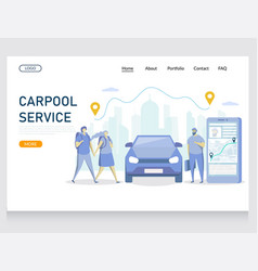 carpool service website landing page design vector image