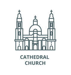 cathedral church line icon cathedral vector image