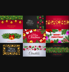celebrate merry christmas banner set realistic vector image