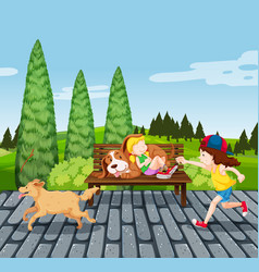 children with pet in the park vector image