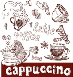 Coffee cappuccino late and sweets vector